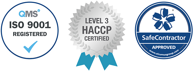 ISO9001, level 3 HACCP & Safe Contractor